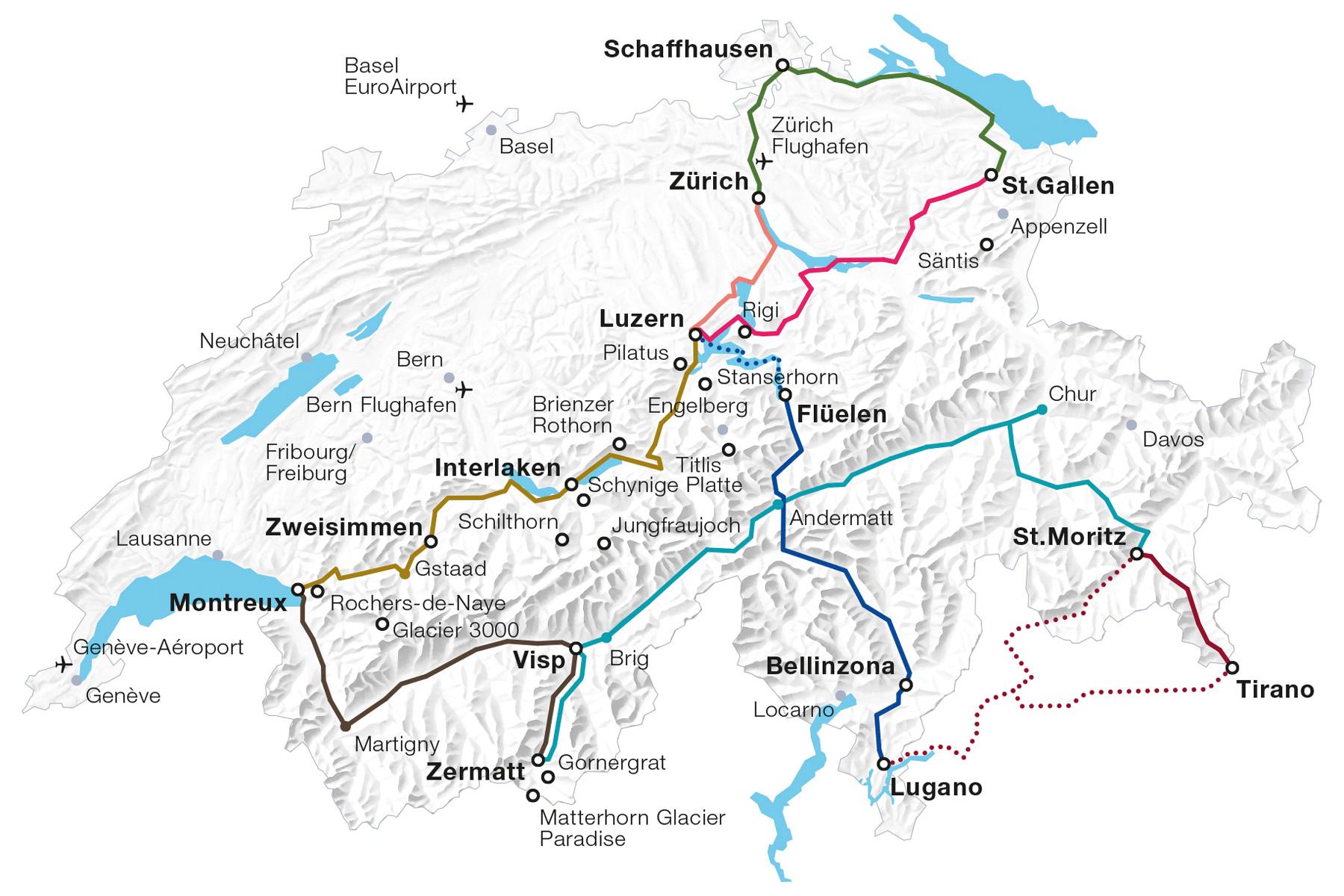 Grand Train Tour of Switzerland Map 2017