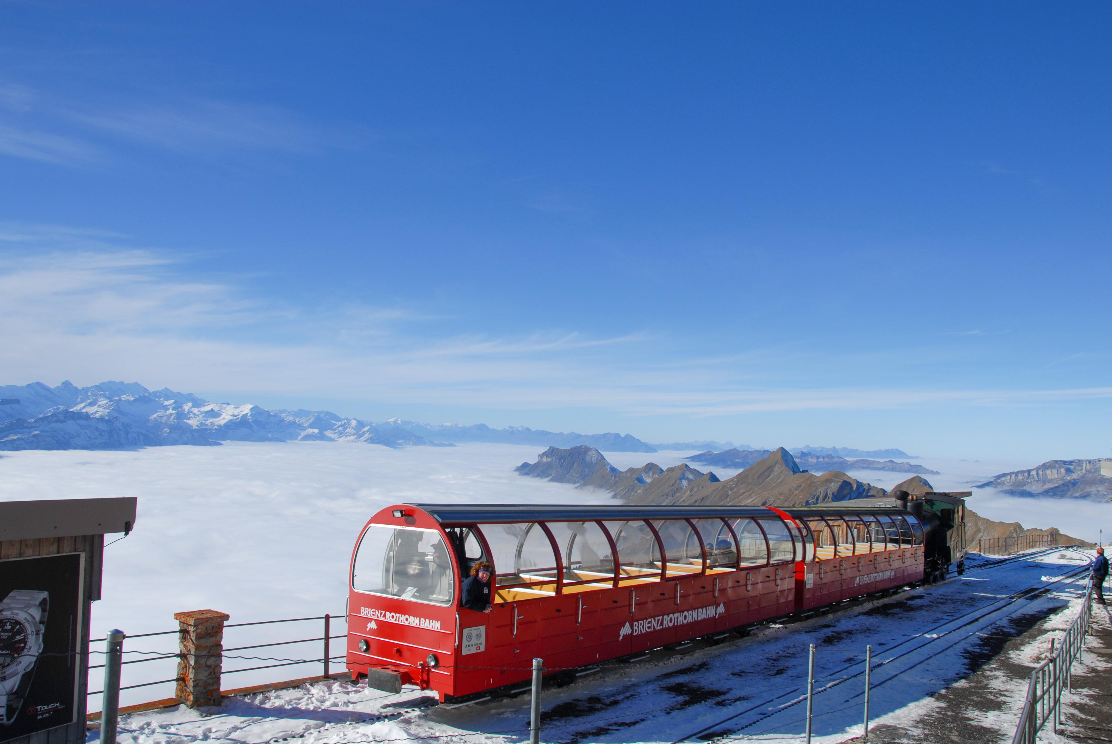 Brienz Rothorn Railway with snow