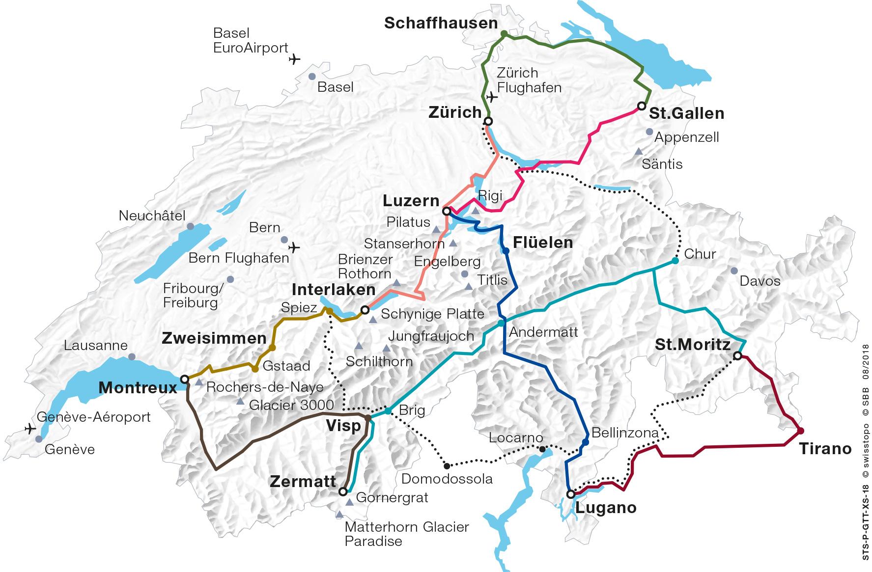 Grand Train Tour of Switzerland Map 2019