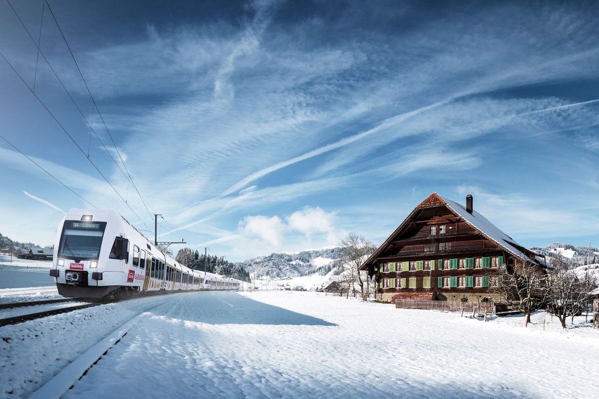 Kambly train near Trubschachen in winter