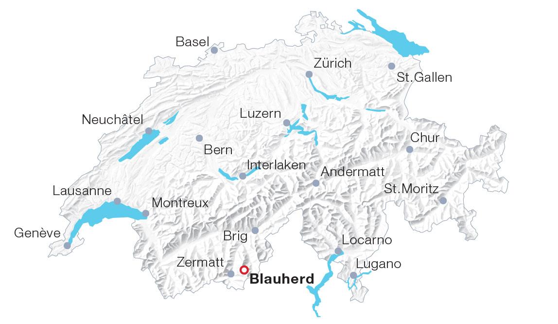 Karte Blauherd, Zermatt