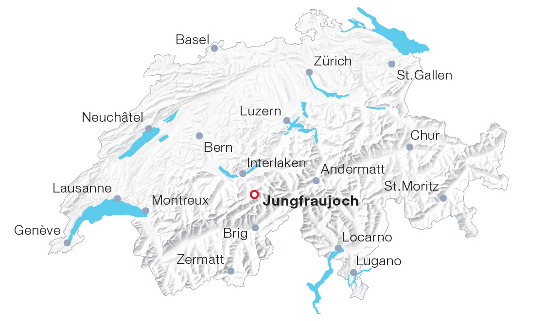 Karte Jungfraujoch