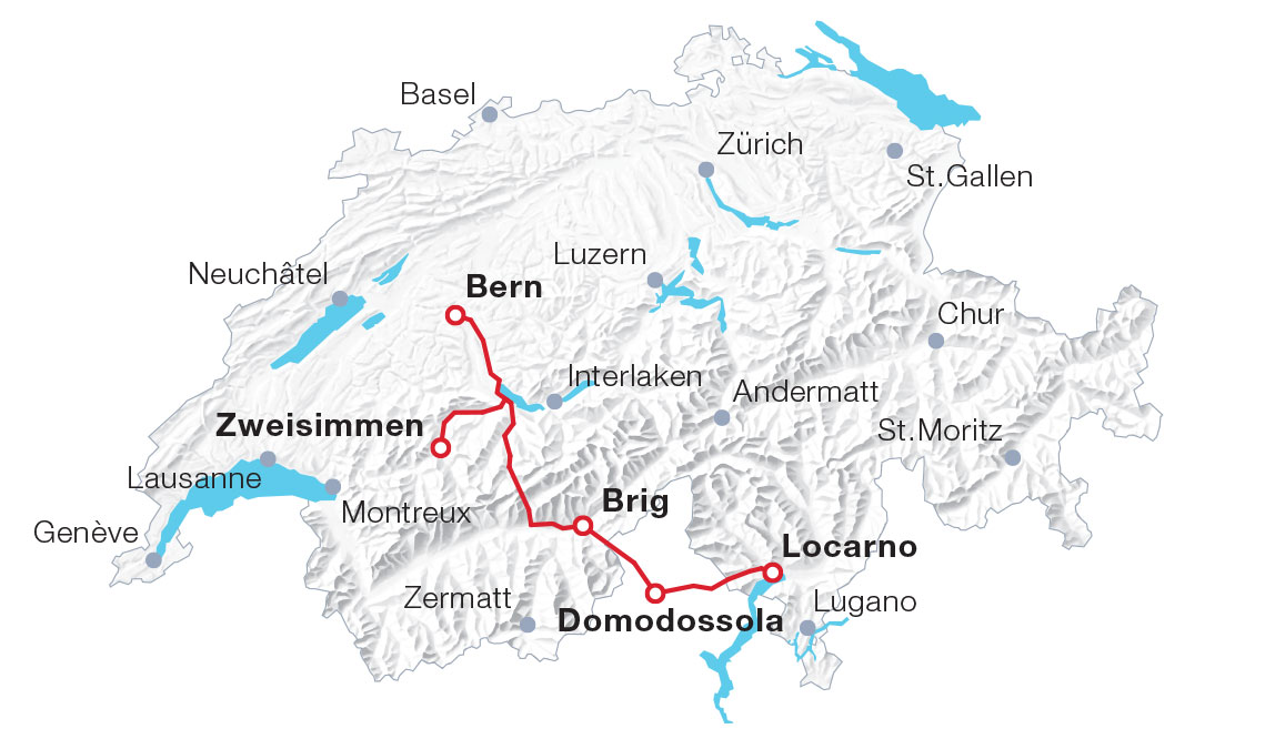 Karte Lötschberg-Bergstrecke und Centovalli