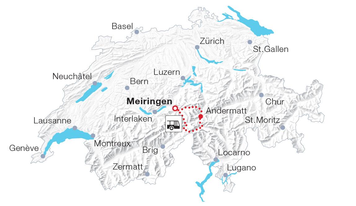 Karte PostAuto-Pässefahrt über die Zentralalpen