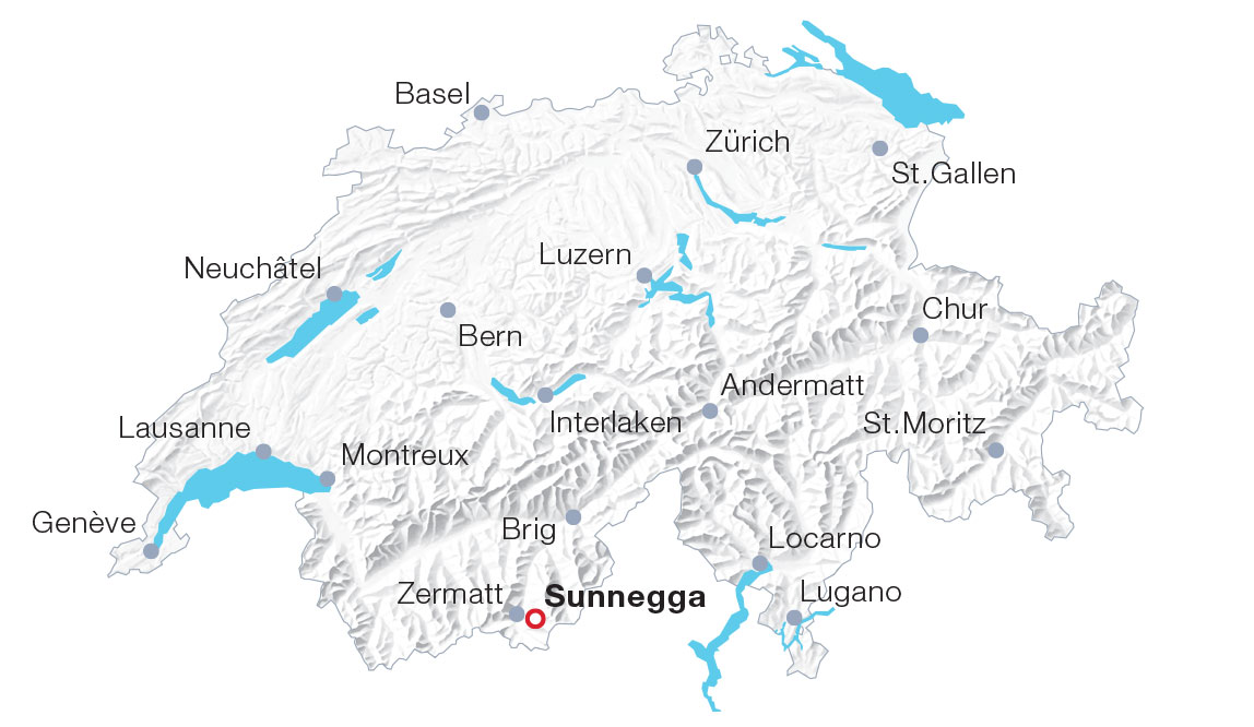 Karte Sunnegga, Zermatt