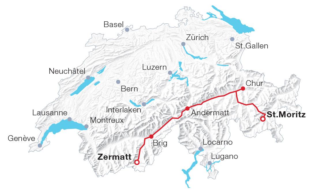 Karte Glacier Express