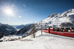 Bernina Express on Alp Grüm, Grisons