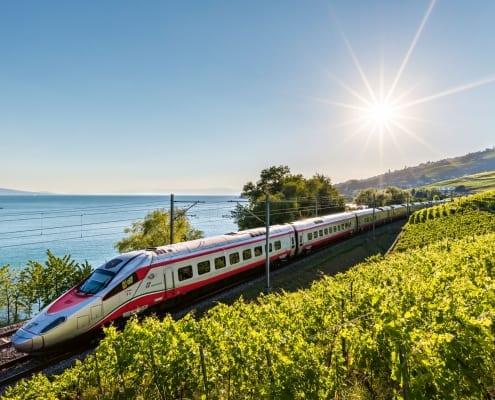 Eurocity train at Lavaux (Lake Geneva)