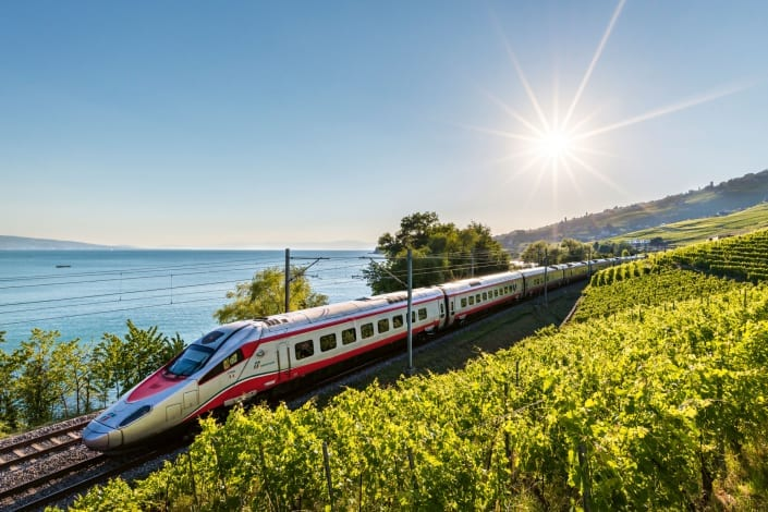 Eurocity train at Lavaux (Lake Geneva)