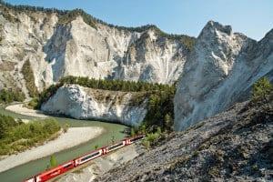Glacier Express at Rhine Gorge, Grisons