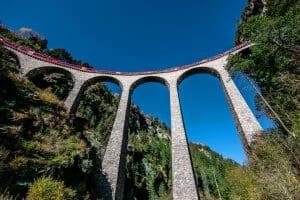 Rhaetian Railways on Landwasser Viaduct, Grisons