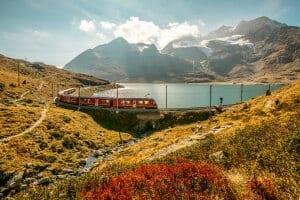 Rhaetian Railways at Lago Bianco, Grisons