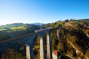 SOB train on Sitter Viaduct close to St. Gallen